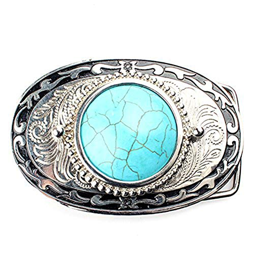 Western Cowboy Cowgirl Turquoise Belt Buckle For Men Women Oval White Gold Plated … ()