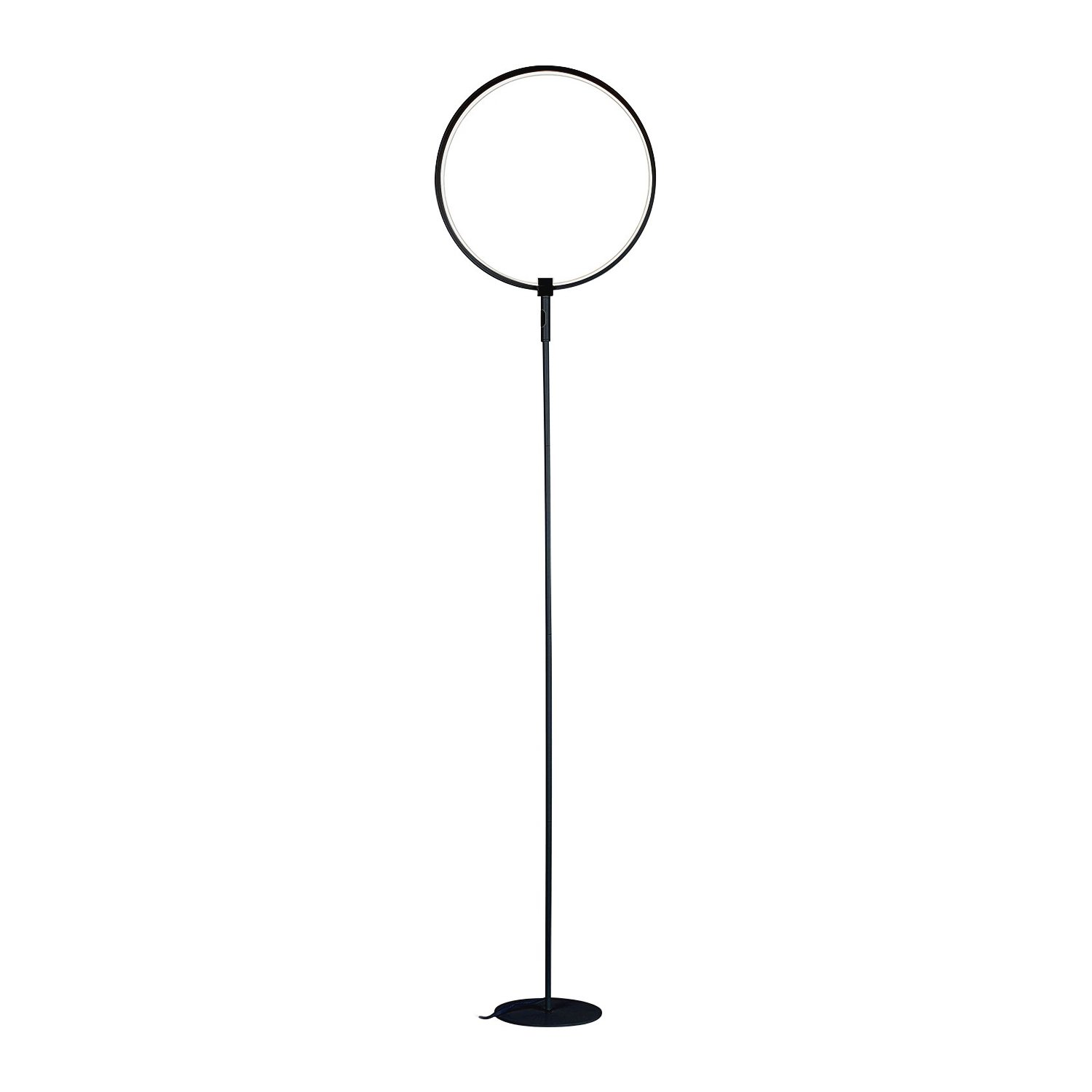 Brightech – Eclipse LED Floor Lamp Single Ring – Ring of Light Brings Sci-Fi Ambiance to Contemporary Spaces – 15 Watts – Dimmable Bright Light - Black Finish