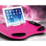ADSRO Laptop Tray, Tablet Pillow Board Cushion Pilliow and Handle Adult Child Student Teen Work Game Reading or Fun in Computer iPad Family or Travel Size 17.7inch12.99inch2.36inch (Rose red)
