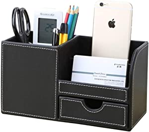 Leather Desk Organizer Multifunctional Pen container With small drawer,Pen/Pencil,Cell Phone,Remote Control Desktop Pencil Holder Or Paper Organizer to Collect Desk accessories.