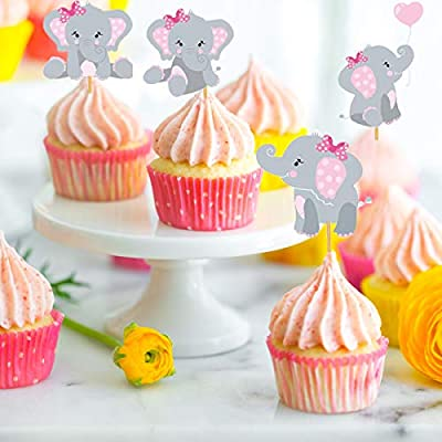 Elephant Cupcake Toppers Cupcake Decorations Food Picks for It's A Girl Baby Shower Kids Birthday Girls Birthday Party Supplies 48 Pack (Pink): Home & Kitchen