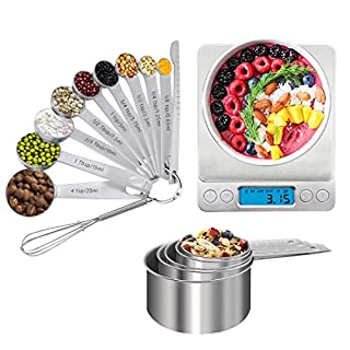Stainless Steel Measuring Cups and Spoons Set of 17 Pieces - 5 Measuring Cups and 9 Measuring Spoons - Durable Professional Portable Kitchen Measuring Kit for Liquid Wet and Dry Ingredients