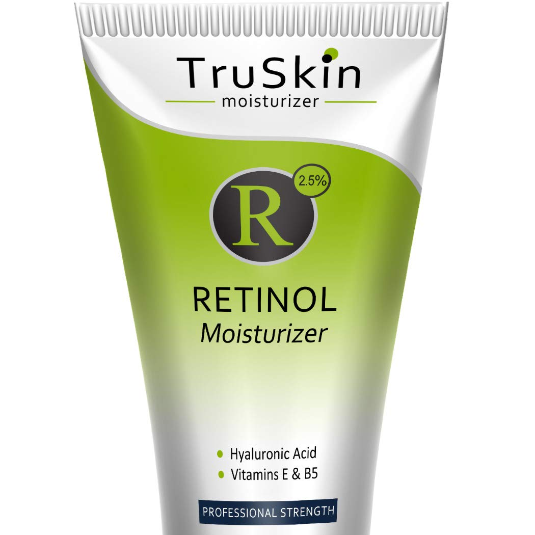 RETINOL Cream MOISTURIZER for Face and Eye Area - [BIG 4-oz Size] - Best for Wrinkles, Fine Lines - Vitamin A, E, B5, Hyaluronic Acid, Organic Jojoba Oil, Green Tea. 4 Fl Oz by TruSkin Naturals