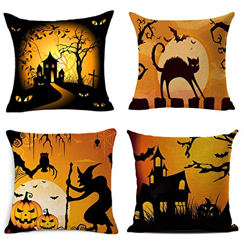 BPFY 4Pack Happy Halloween Pillow Covers 18 x 18 Inch Cotton Linen Black Cat Sofa Home Decor Throw Pillow Case Cushion Covers -