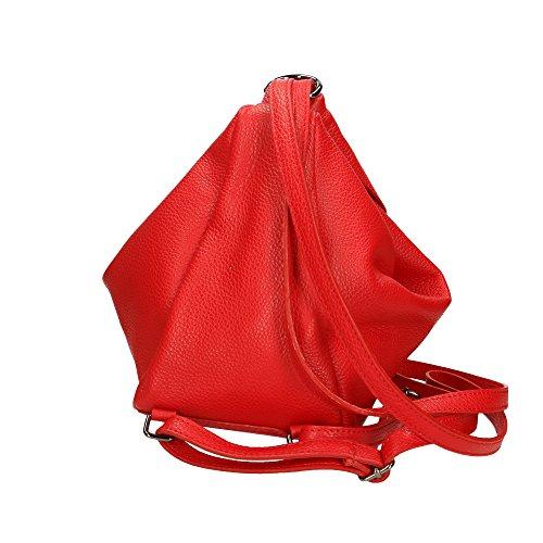 Cm Auténtico De Bolsa En 15x25x20 In Italy Mochila Rojo Cuero Made Mujer Aren nRxgqPwY5g