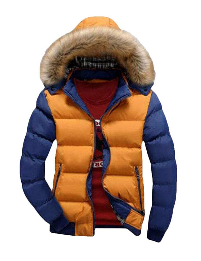 Nanquan Men Thickened Warm Large Size Hoodie with Faux-Fur Trim Puffer Jacket