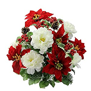 Admired By Nature GPB6816-RD/CM Artificial Flower Bush, Peony Poinsettias-RD/cm