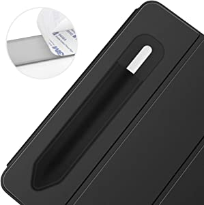 """Dadanism Pencil Holder Sticker Fit Apple Pencil 1st/2nd Generation, Elastic Pocket Adhesive Sleeve Pouch Attached to Case Fit iPad Pro 11/12.9 2020/7th Gen 10.2"""" 2019/iPad 9.7 Stylus Pens, Black"""