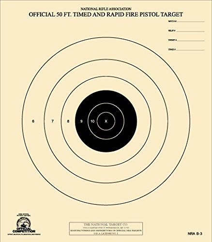 The National Target Company Official NRA Target, B-3, 50 Ft. Timed and Rapid Fire Pistol, Pack of 100