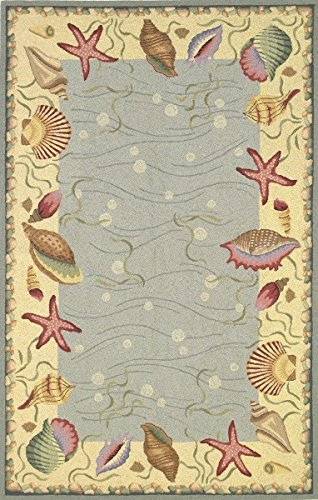 KAS Oriental Rugs Colonial Collection Ocean Surprise Area Rug, 5 3 x 8 3 , Blue Ivory