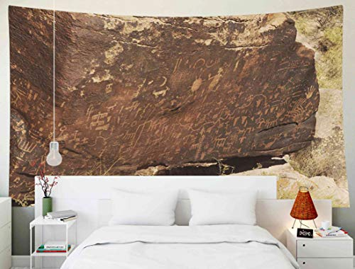 TOMWISH Tapestry Wall Hanging, Tapestries Decoration Hanging Wall Bedroom and Home Décor Dorm Carved in Rocks by The Navajo and Hopi Native American Tribes 80x60 Inch