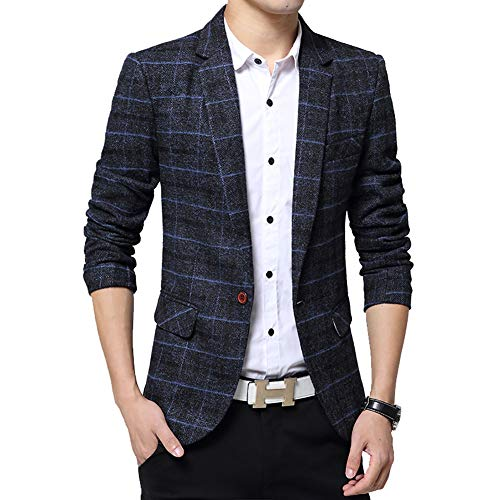 Men's Tweed Plaid Blazer Jacket Casual Business Sport Coat Long Sleeve One Button Slim Fit Suits Single-Breast Outwear Navy Blue ()