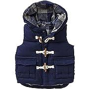 JELEUON Boys Lightweight Soft Warm Hooded Utility Padded Puffer Bubble Vest Winter Jacket (2T, Navy Blue)