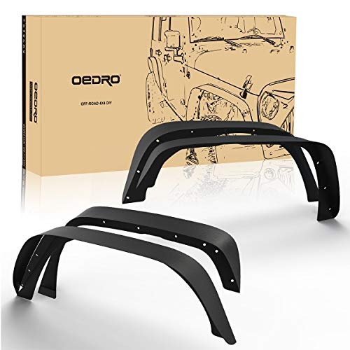 - oEdRo Solid Steel Fender Flares Competible with 2007-2018 Jeep Wrangler JK & Unlimited Off-Road Front & Rear Flat 4 PCS Set