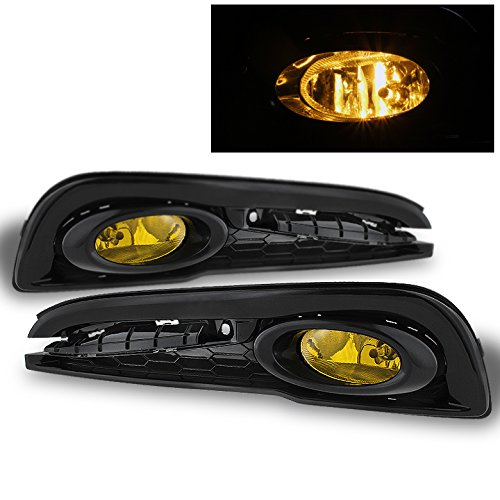 (2013-2014 Civic 4Dr Sedan Yellow Fog Lights w/Switch, Harness, Relay Completed Pair Left+Right)