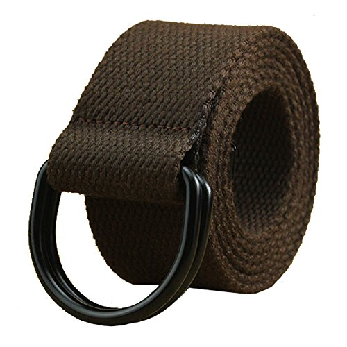 """Mens & Womens Canvas Belt with Black D-ring 1 1/2"""" Wide 46"""" Long Solid Coffee"""