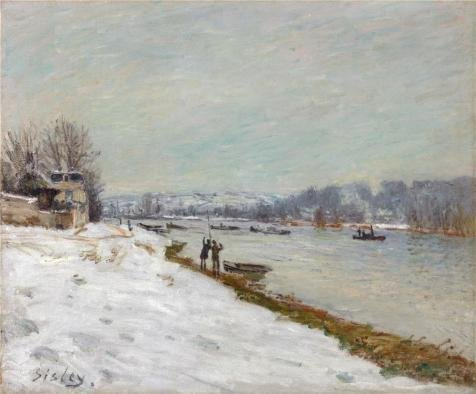 [Oil Painting 'Alfred Sisley,The Embankment At Billancourt-Snow,1879' Printing On Perfect Effect Canvas , 24x29 Inch / 61x74 Cm ,the Best Garage Decor And Home Gallery Art And Gifts Is This Vivid Art Decorative Canvas] (Donald Duck Costume Makeup)