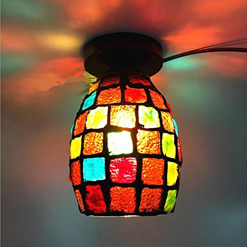 6-Inch Mosaic Antique Flush Mount Ceiling Light Tiffany Style Single Head Creative Pendant Lamp Fixture for Bedroom Office Restaurant,B