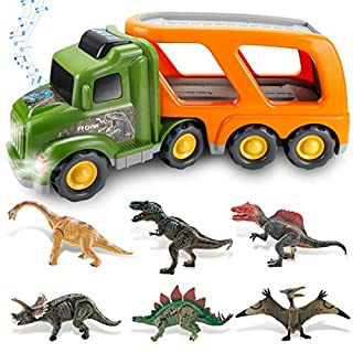 Dinosaur Truck Toy for 3 4 5 6 7 Years Old Kids Boys and Girls, Dinosaur Play Set with Light and Sound, Friction Powered Carrier Truck Toys, Great Gift Choice