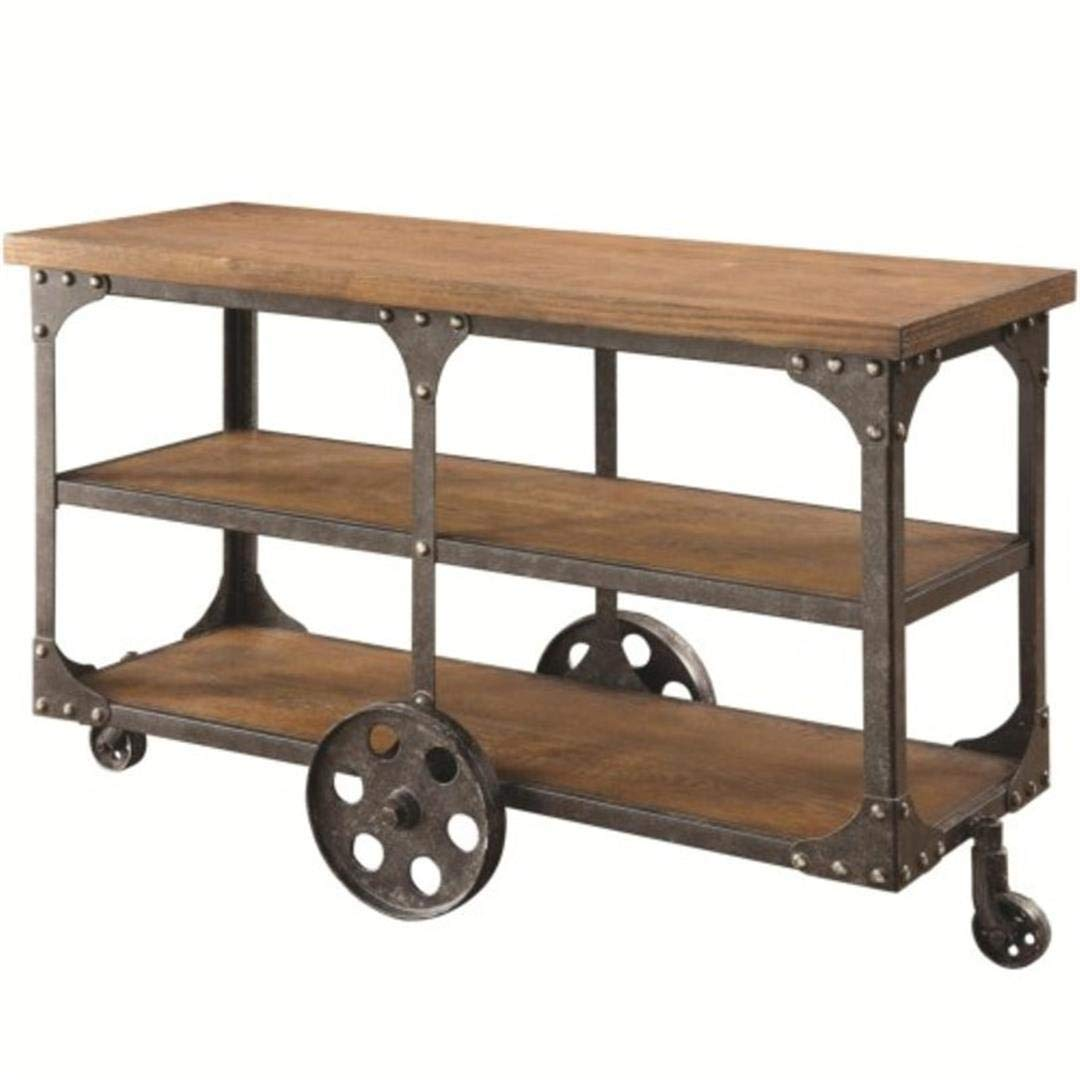 Sofa Table with 2-shelf Rustic Brown by Coaster Home Furnishings