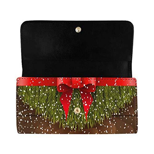 InterestPrint Women's Long Clutch Purses Christmas Tree Trifold Card Holder Handbags