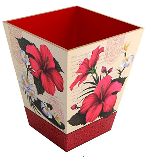 Hibiscus Blossom Wooden Waste Bin Color: Red (Lacquer Trash Can)
