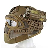 Tactical Fast PJ Type Helmet With Mask and goggles for Airsoft Painball CS Game (Tan)