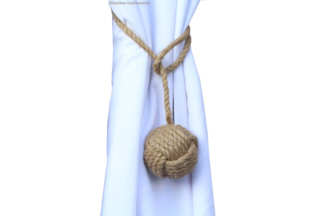 Roorkee Instruments India Pair of Nautical Curtain Tie Back//Jute Tiebacks//Curtain Holdbacks//Nautical Home Decoration RII-COTT-RP01