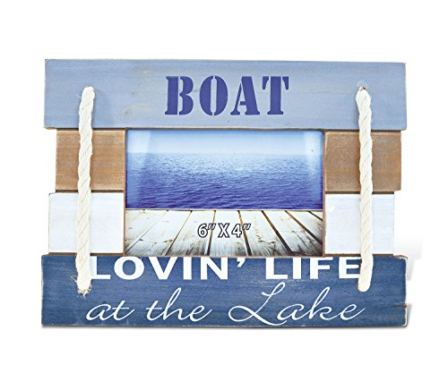 CoTa Global Nautical Coastal Wooden Atlantic ''Lovin' Life At the Lake'' Real Natural Wood Picture Holder Tabletop Photo Frame Unique Handcrafted Hand-painted Figurine Home Accent Accessories 7.5 Inch by Puzzled (Image #2)