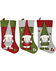 3 Pcs Christmas Stockings,19inch Faceless Doll Socks, Personalized Hanging Decorations Stocking Gift Ornaments Stocking Bag Pouch