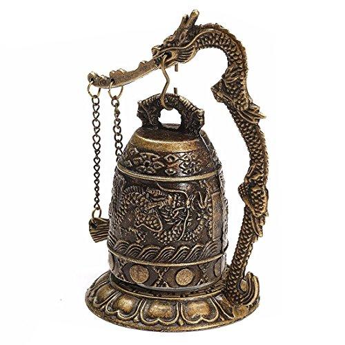 SODIAL(R) National Handmade Brass Bell Carved Dragon Buddhist Buddha's Clock Bronze Good Luck Bell