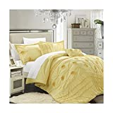 Chic Home 5-Piece Florentina Floral Pleated Comforter Set, Yellow, Queen