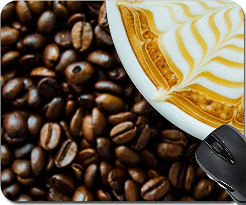 MSD Mousepad Mouse Pads/Mat design 35411156 llecto Latte art Close up of a beautiful cup of hot coffee on coffee bean background ()