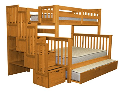 Bedz King Stairway Bunk Beds Twin over Full with 4 Drawers in the Steps and a Twin Trundle, Honey ()