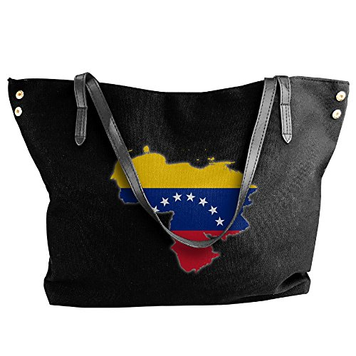 Bag Of Women's Black Flag Tote Messenger Canvas Venezuela Map Large Shoulder Handbag Tote Hobo ZUP0ZpqR