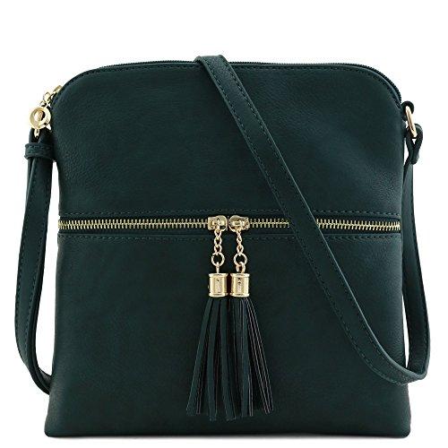 Green Zip Bag Hunter Crossbody Pocket Tassel w6qBz0vz