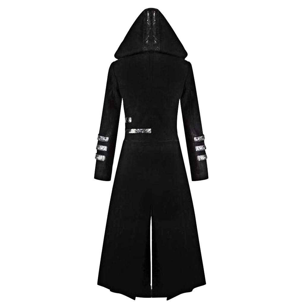Mens Gothic Steampunk Hooded Trench Parka Party Costume Tailcoat Jacket