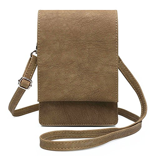 Cell Phone Purse Small Crossbody Bag Mini Cellphone Pouch Wallet Card Holder (Bella Khaki) by Shomico