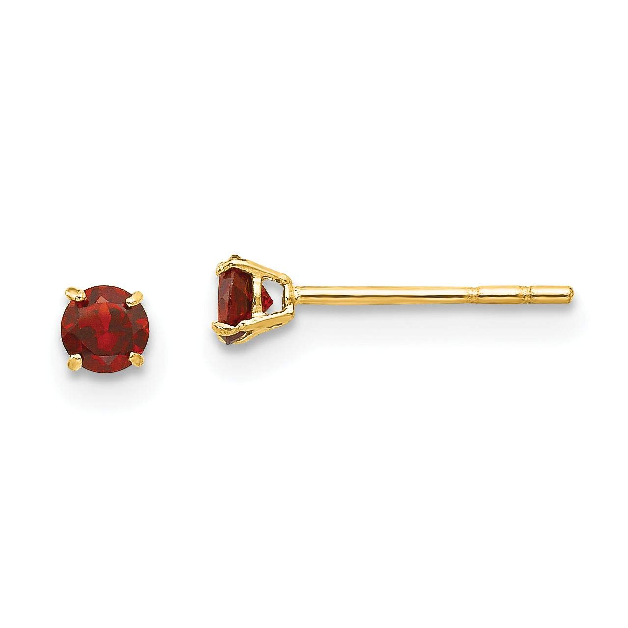 14K Yellow Gold Madi K Childrens 3 MM Round Garnet Post Stud Earrings