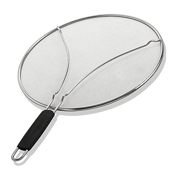 Grease-Splatter-Screen-for-Frying-Pan-13-Stops-99-of-Hot-Oil-Splash-Protects-Skin-from-Burns-Splatter-Guard-for-Cooking-Iron-Skillet-Lid-Keeps-Kitchen-Clean-Stainless-Steel