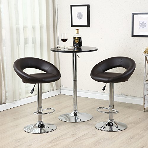 Belleze Bar Stool Pub Modern Adjustable Swivel Hydraulic , Set of 2 Dark Brown (Homedepot Outdoor Furniture)