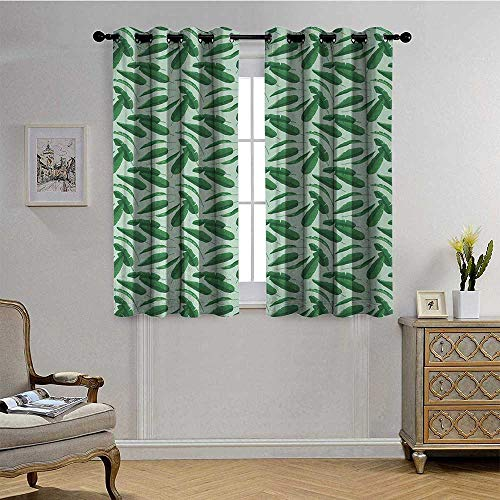 Banana LeafBlackout DrapesHand Drawn Cartoon Style Leafage of an Exotic Fruit Tree Tropical Paradise W72 x L63 Forest Green