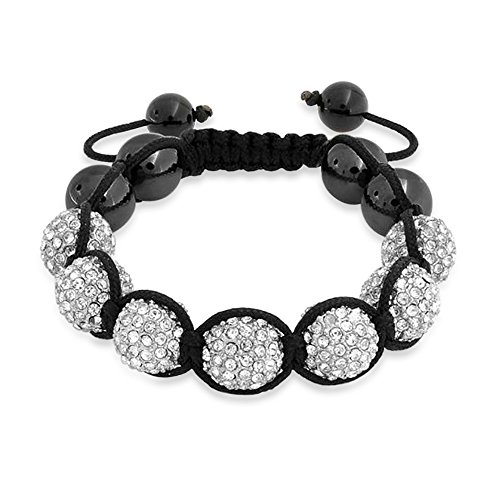 Bling Jewelry White Clear Pave Crystal Shamballa Inspired Bracelet For Women for Men Hematite Ball Black Cord String Adjustable