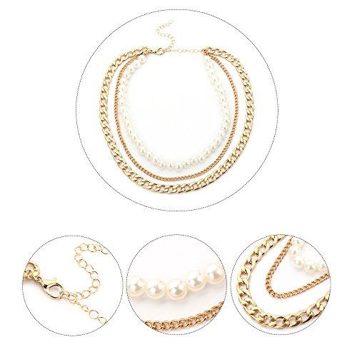 Collare Donne Imitazione bianca Perla Del Collane Di Pnizun Collana Accessori Dichiarazione Multistrato Delle Choker Moda Nozze Gioielli Oro XqgRx8