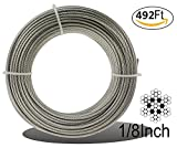 Muzata Stainless Aircraft Steel Wire Rope Cable For Railing ,Decking, DIY Balustrade, 1/8Inch,7x7,492Feet