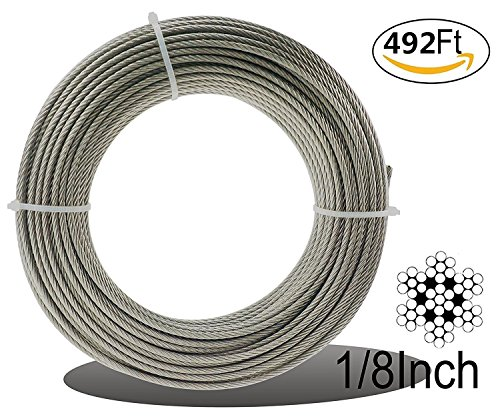 Muzata Stainless Aircraft Steel Wire Rope Cable For Railing ,Decking, DIY Balustrade, 1/8Inch,7x7,492Feet by Muzata