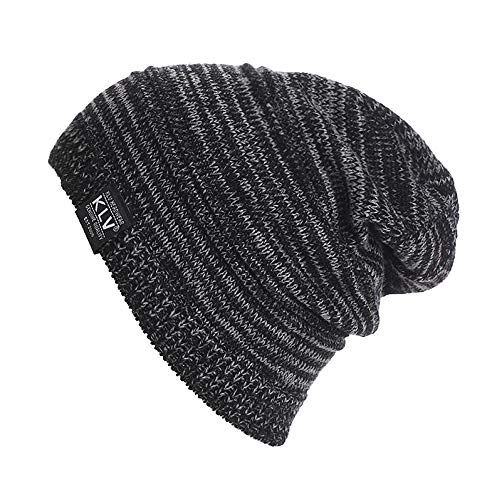 NEEKEY Men Women Unisex Knit Baggy Beanie Winter Hat Ski Slouchy BK(Free Size,Black)