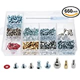 660pcs Phillips Head Computer PC Spacer Screws Assortment Kit for Case Hard Drive Motherboard Fan Power Graphics (Screwdriver Included)