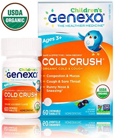 Genexa Cold Crush for Children | Certified Organic & Non-GMO, Physician Formulated, Homeopathic | Cough & Cold Medicine for Children | 60 Count