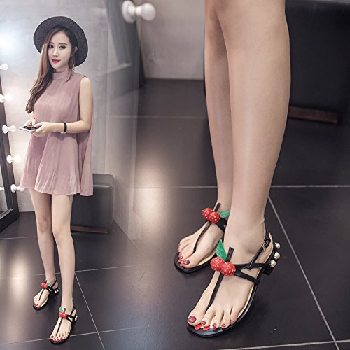 RUGAI-UE Damen Sandalen Sommerschuhe europäische und amerikanische Schuhe Rom Rom Rom Schuhe niedrig und Ferse Kirsche Schuhe. 65acd1